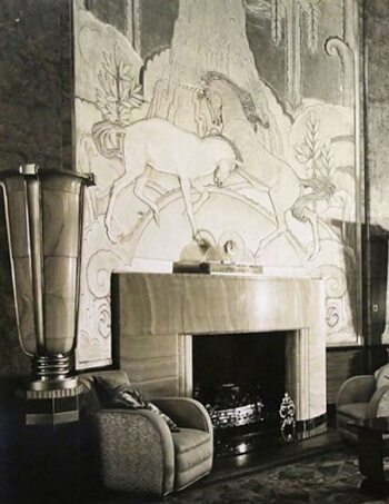 Art Deco Interior design of the Queen Mary in black and white