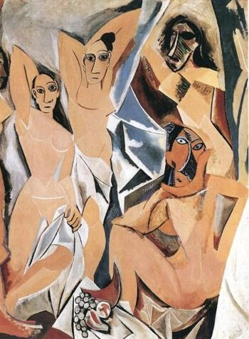 The Painting  Les Demoiselles D'Avignon by Pablo Picasso of tribal masked nudes
