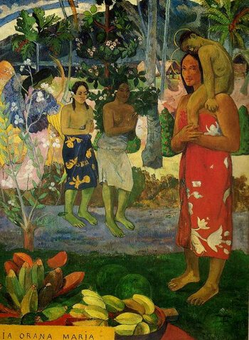 Painting of tribal Tahitian women by Paul Gauguin with bright colours
