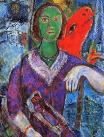Expressionist painting with clashing colours by Marc Chagall