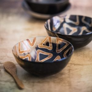 Tribal pattern bowl with bamboo spoon