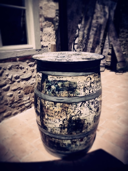 graffiti art painted whiskey barrel table in France