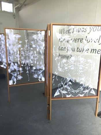 etched panel artwork at degree show