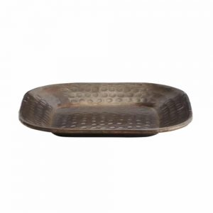 small bronze coloured square tray with hammered effect