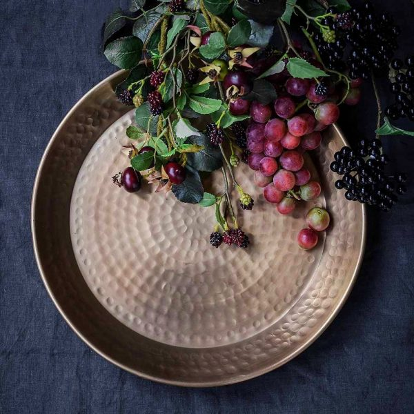 Hammered Gold Tray with wild banquet fruit