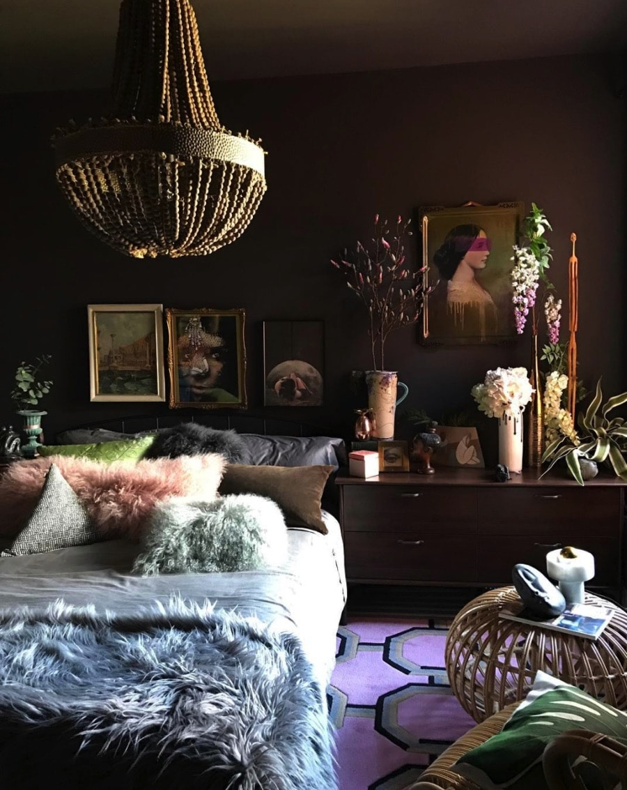 dramatic bedroom with dark walls