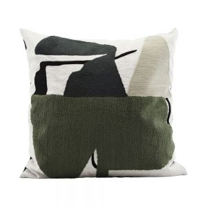 contemporary cushion with an off white and olive modernist art design