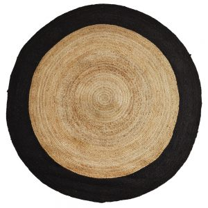 round rattan woven rug with black band small size