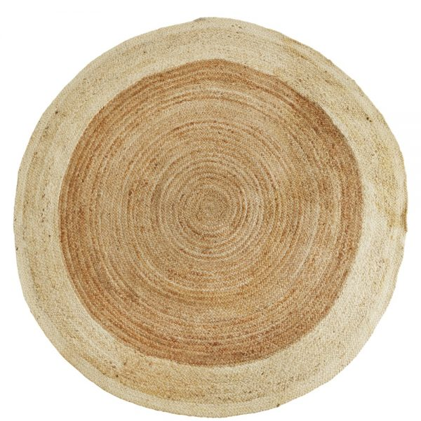 round rattan woven rug with white band small size