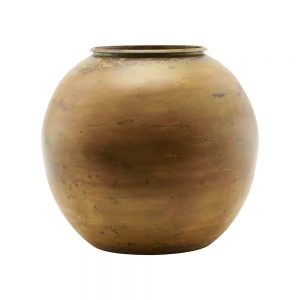 round mustard coloured patinated brass vase
