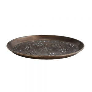 bronze coloured drinks tray with cut out Indian design
