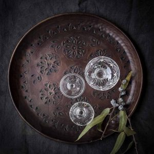 Bronze drinks tray with vintage glasses