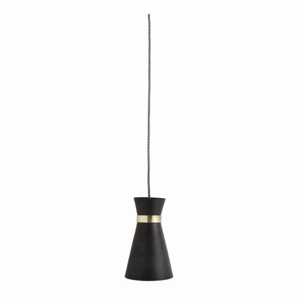 small contemporary black pendant lights with gold detail hanging over a Scandinavian dining table