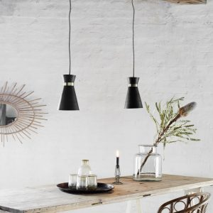 contemporary chic black pendant light with gold detail