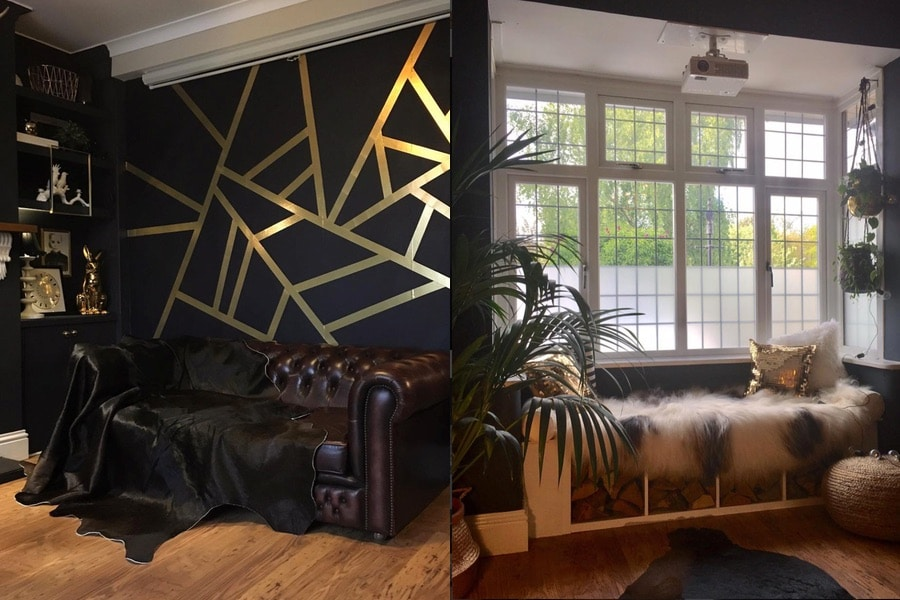 a dark wall with gold tape and a window with window seat and faux fur throw