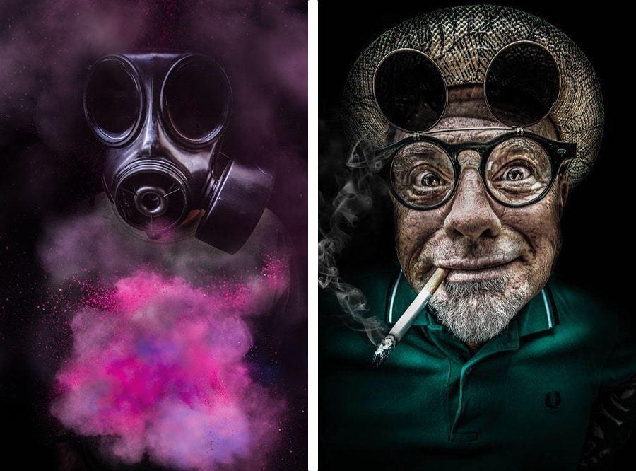 Photographic portraits by Pati Robins showing a gas mask and pink pigment and a mans's face with goggles