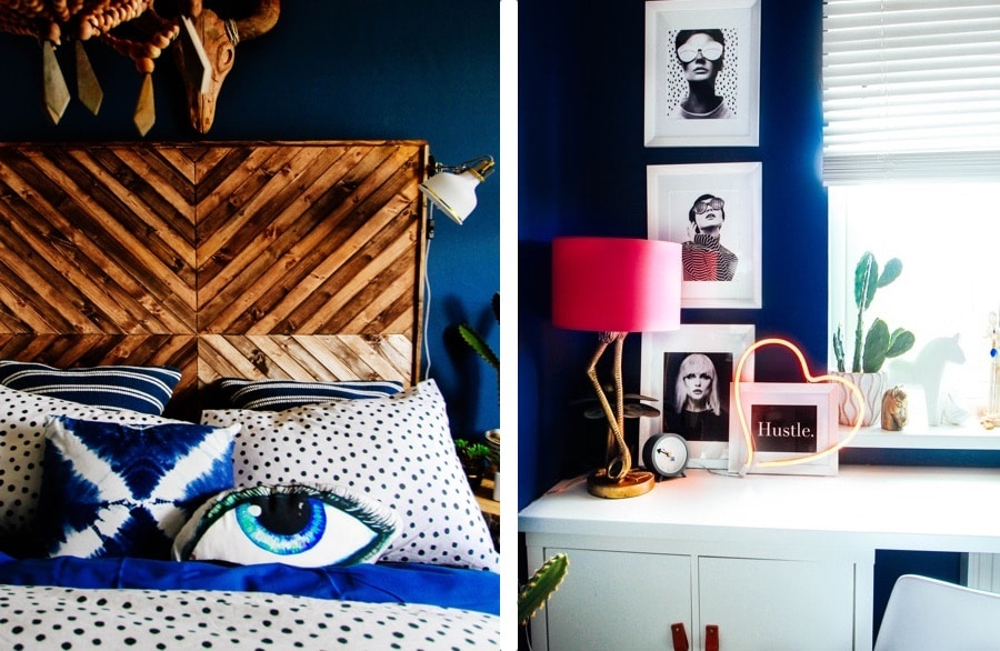 girls blue bedroom with funky lampshade and crafted headboard