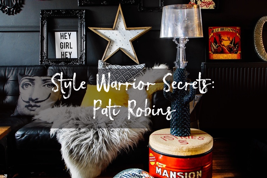ricing room with black class and bright colourful eclectic decor belonging to Pati Robins