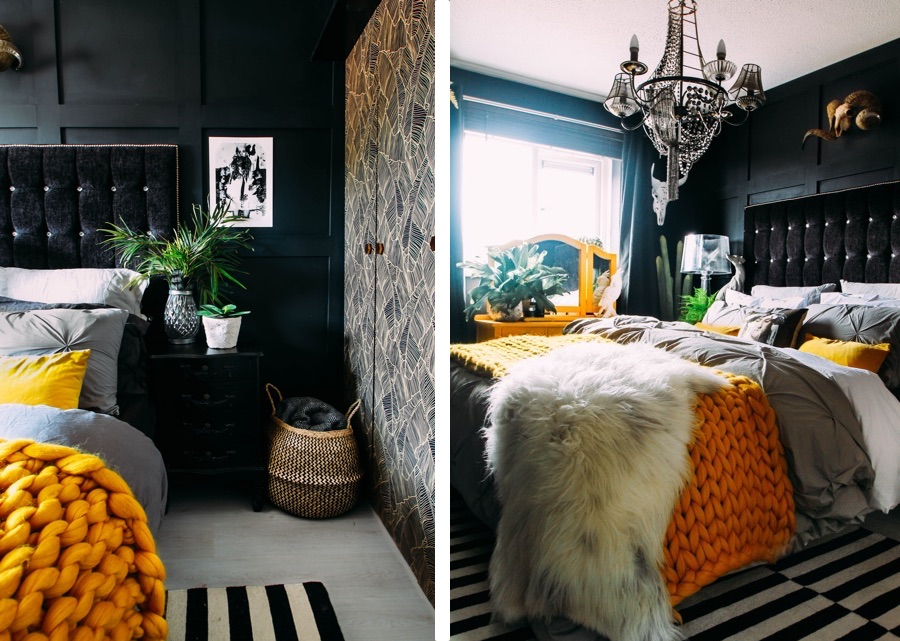 black bedroom with yellow accessories and monochrome artwork belonging to Pati Robins