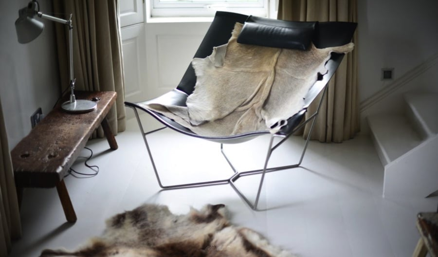 cowhide draped over a chair