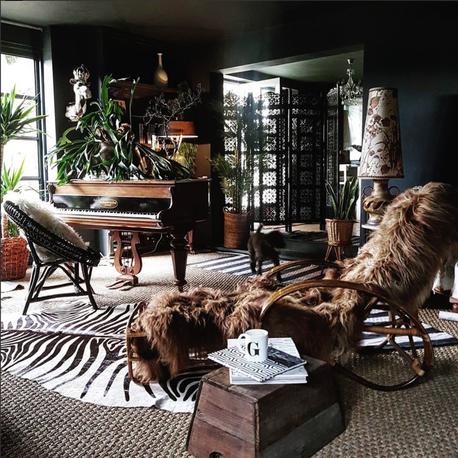 Boho layered interior with sheepskins and zebra print