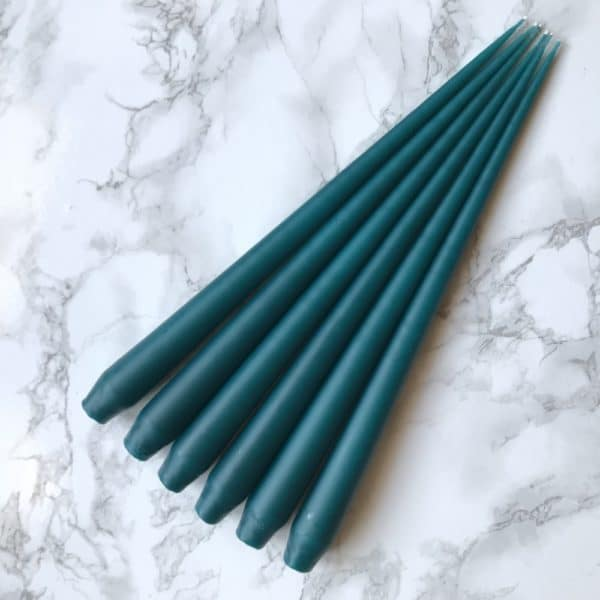 Pack of 6 hand dipped taper candles in Teal colour - Curious Egg
