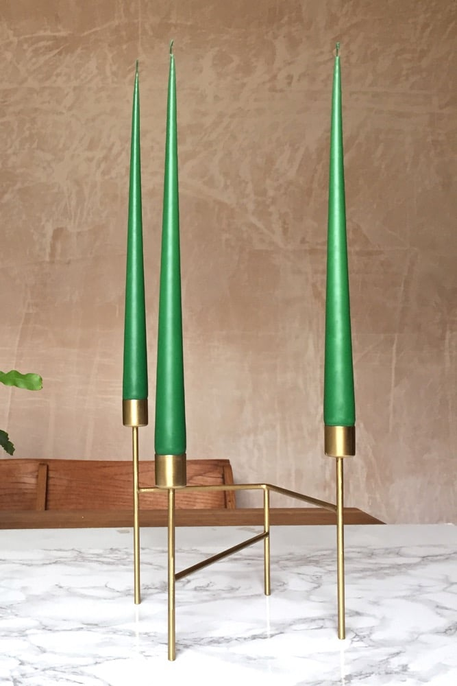 Hand Dipped Taper candles - Emerald (6 pack)