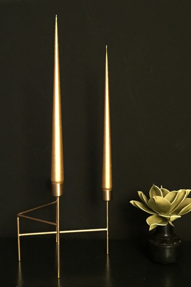 Hand Dipped Taper candles - Gold 42cm (6 pack)
