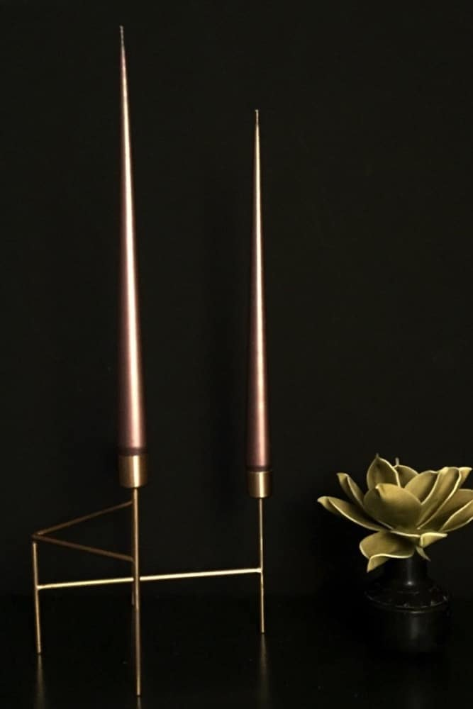 These beautiful bronze tapered candles come from Denmark and are made using the highest quality traditional hand dipped methods. Their beautiful long, lean shape with thin elegant points makes them the finest taper candles you'll find. Pair three with our Gold Strand candleholder for a stunning centrepiece or theatrical table display.