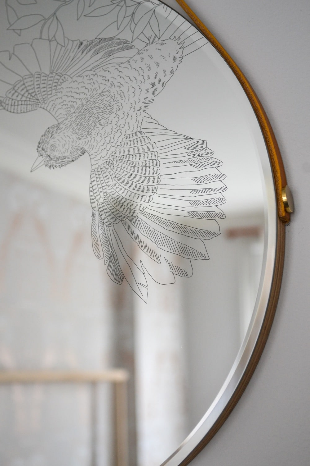 We are delighted to introduce these beautiful engraved mirrors by artist and maker Daniel Heath. Daniel's signature bird illustrations add a delicate and distinctive detail to the circular designs. The smaller 35cm mirror uses the well known'Swooping Jay' motif while the 50cm diameter mirror has new 'Heronry' design which is inspired by the opening of Walthamstow Wetlands, Europe's largest urban wetland, which hosts abundant wildfowl in their natural habitat.  A round mirror ad...