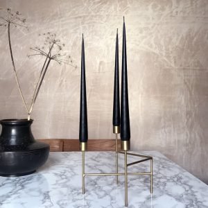 Three hand dipped taper candles in Black colour
