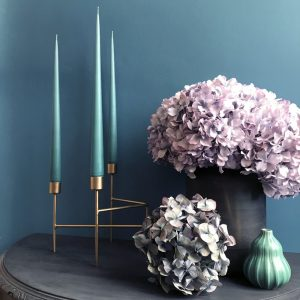 Three hand dipped taper candles in Jade colour