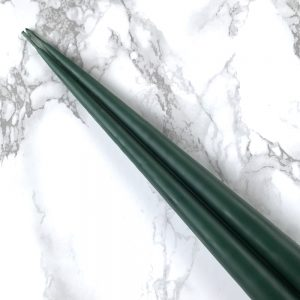 Pair of hand dipped taper candles in Spruce Green colour. Curious Egg.