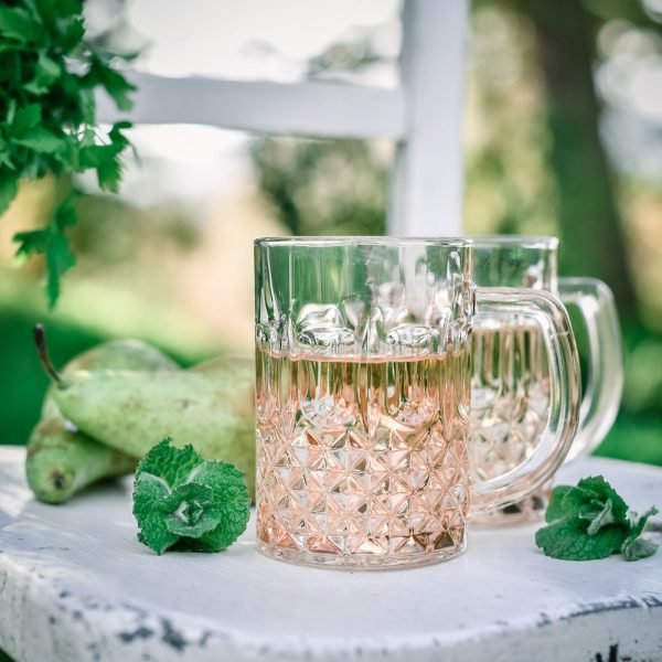 rose coloured crystal cut glass mug with summer drinks