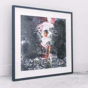 Rachel Lee - Framed Original Artwork - Landscape #3 - exclusively available at Curious Egg. Lifestyle image of framed artwork against a wall.