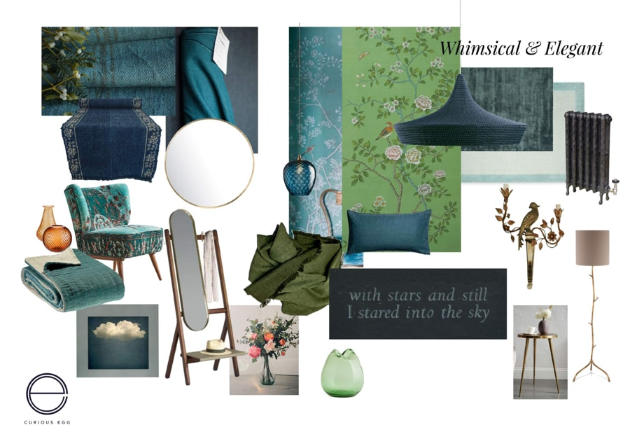 mood board with blue green decor for a bedroom