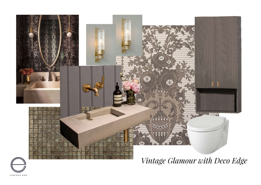 Guest wc with vintage luxurious decor