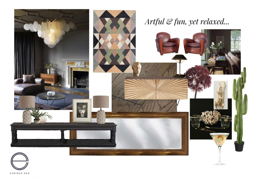 mood board for an eclectic living room