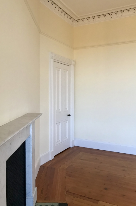 angled wall in a bedroom