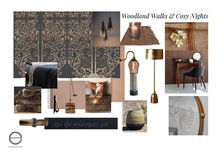 moodboard by Lorraine Aaron for a cosy bedroom interior design.