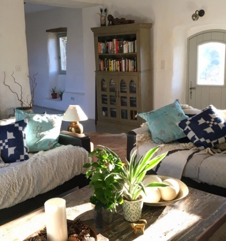 relaxed living room with blue cushions