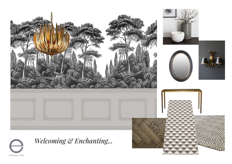 grisaille paper proposed for hall interior design scheme