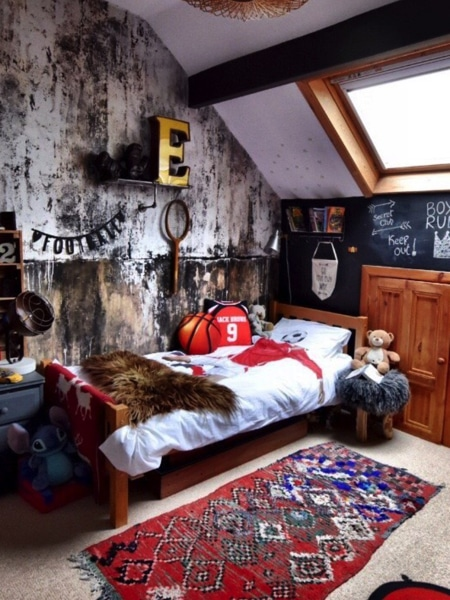 boy's bed room with eclectic decor