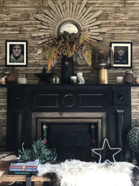 eclectic interior and fireplace with quirky decor