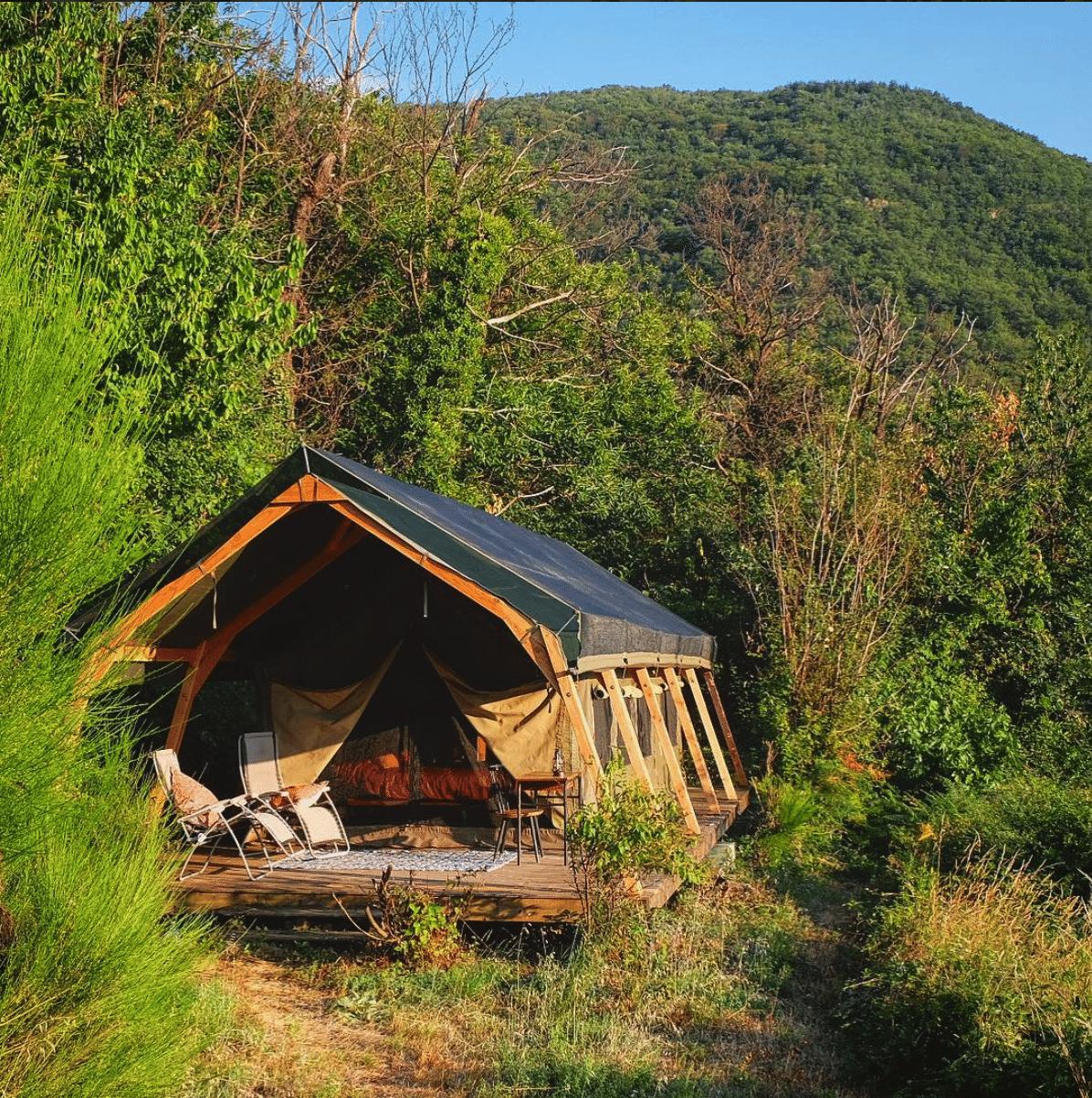 Safari tent bedroom in France