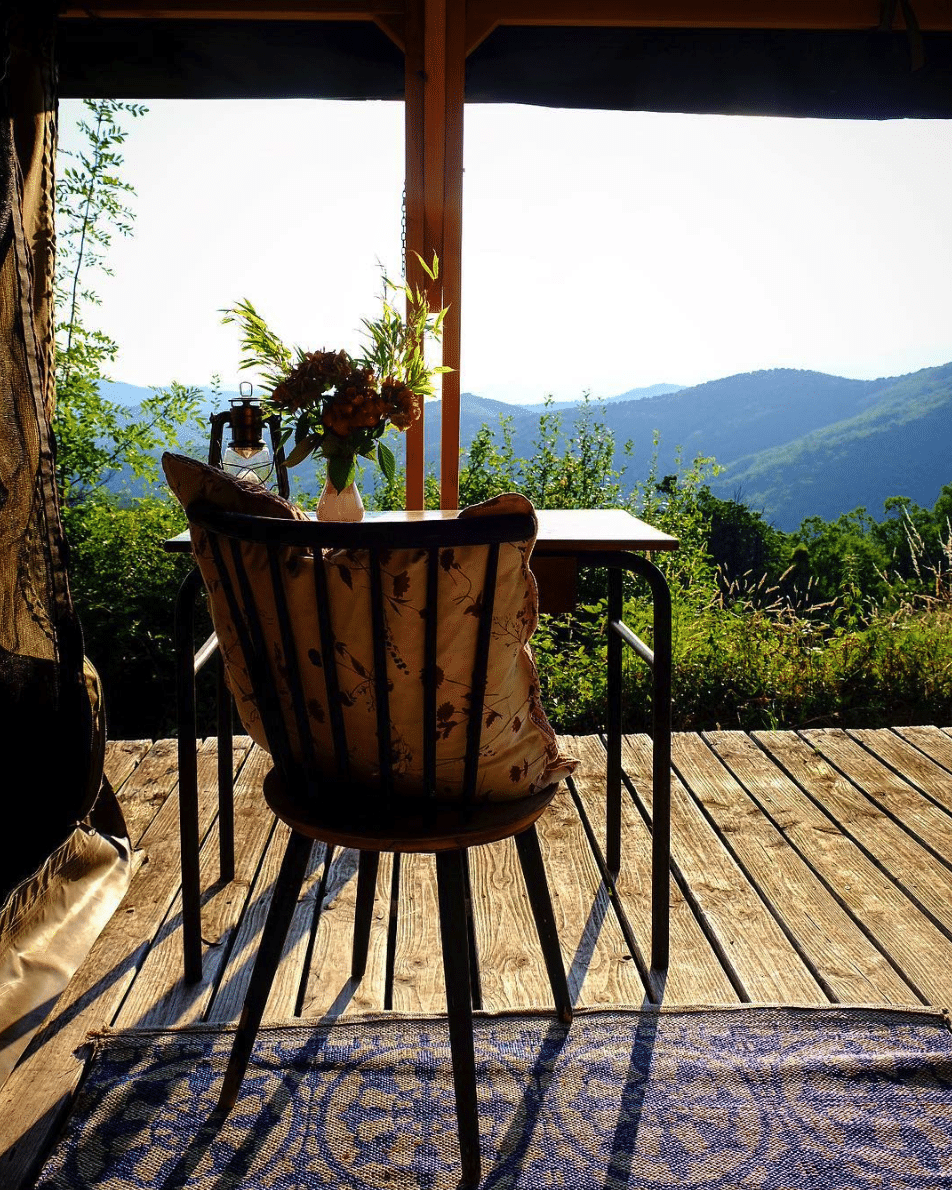 a chair on a terrace in France