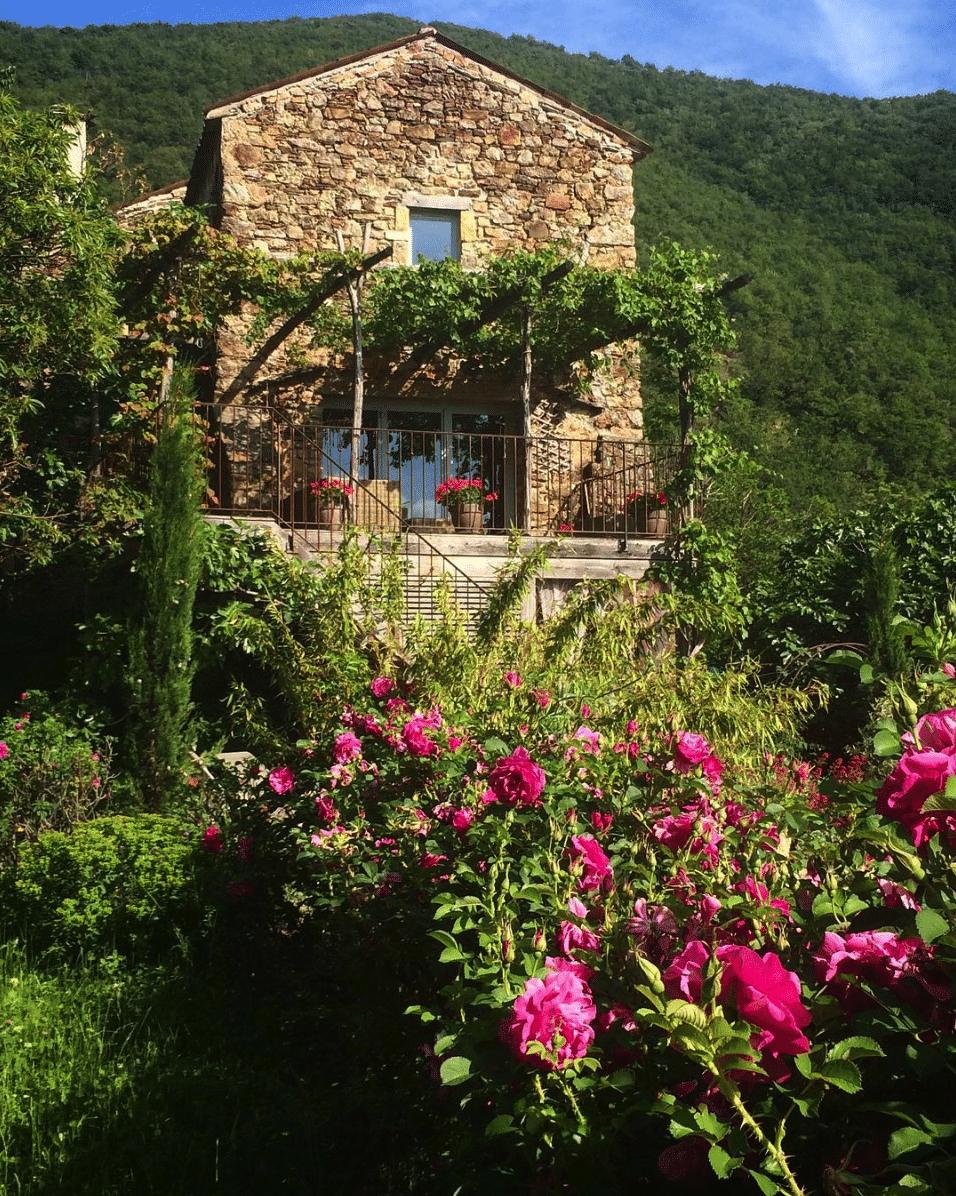 french farm house with lush garden
