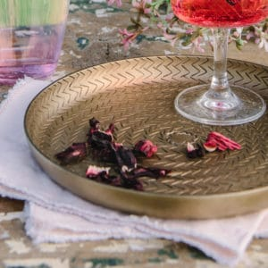 brass drinks tray with woven pattern