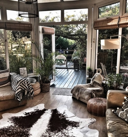 hygge style decor for a cosy conservatory