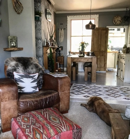 tribal cushions in an eclectic living room
